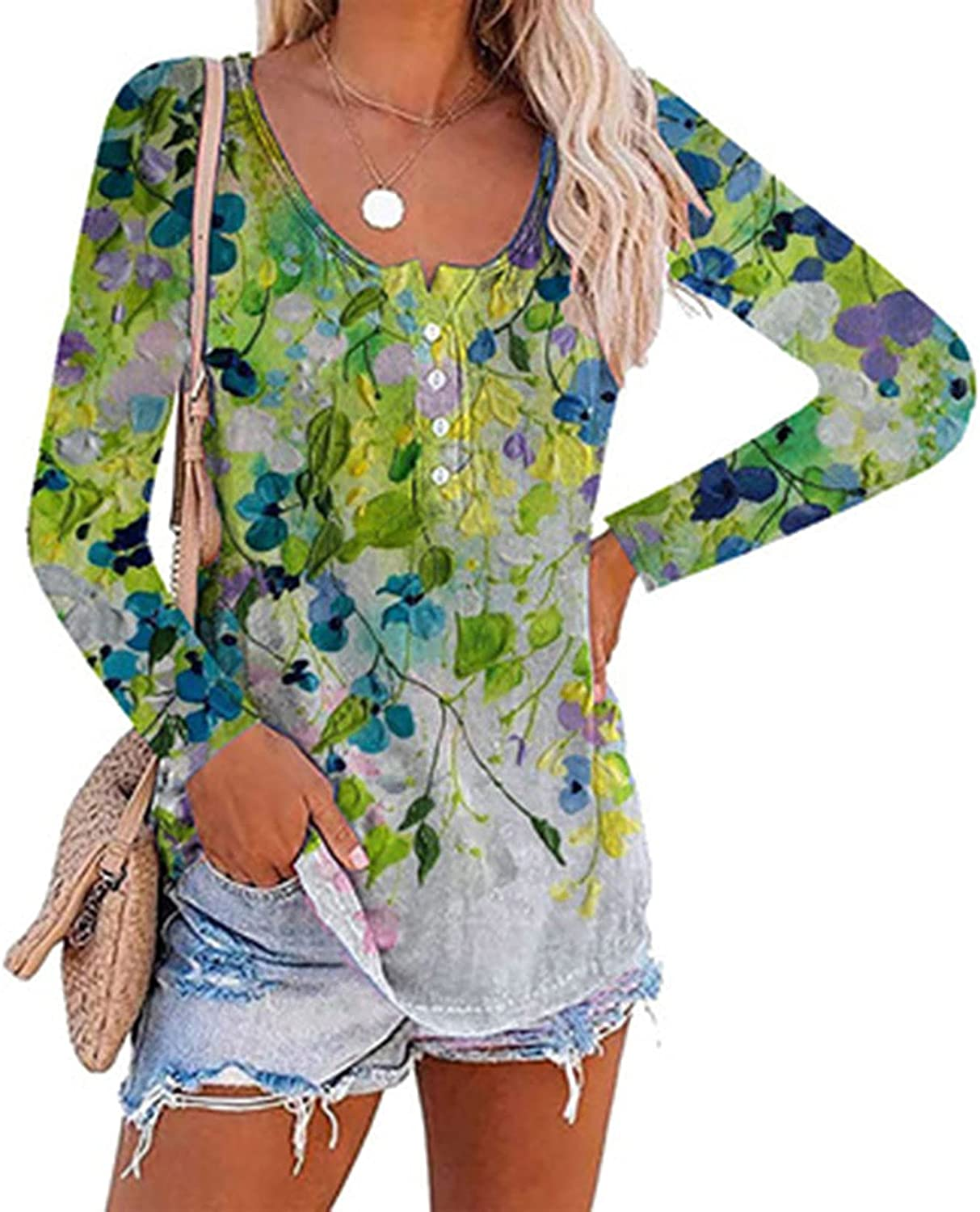 Casual Shirts for Women Floral Print Long Sleeve O-Neck T-Shirts Blouses Plus Size Leisure Tee Top Fall Clothes