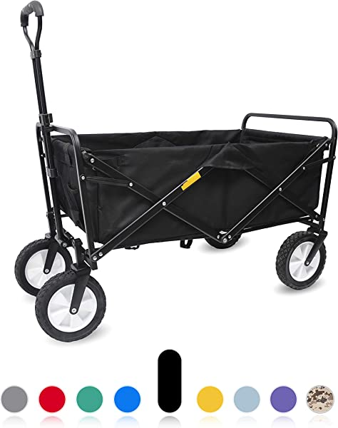 WHITSUNDAY Collapsible Foldable Garden Outdoor Park Utility Cart Gift Over 4 5 Cubic Feet Picnic Camping Wagon 8 Wheel Replaceable Cover Black
