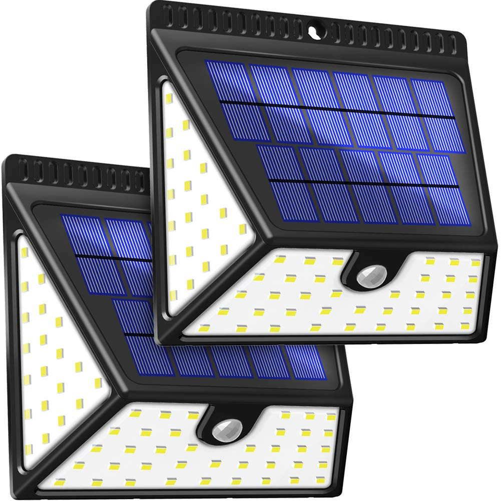 BAXiA Luz Solar Jardín 2400mAh, 1640LM Luces Solares con Sensor de Movimiento de 82 LED, Lampara Solar Exterior, Focos Solares de Seguridad para Jardín Entrada Patios Garaje, 2 Piezas: Amazon.es: Iluminación