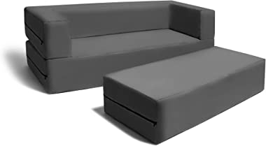 Jaxx Zipline Sofa & Large Ottoman 3 in 1 Fold Out Sofa, Big Kids Edition, Charcoal