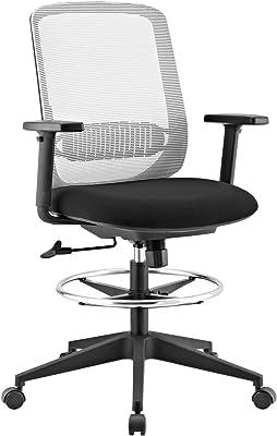 Modway Acclaim Ergonomic Mesh Adjustable Drafting Chair Stool, Gray,