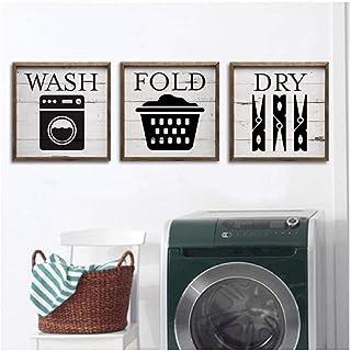 YIBINGLI Buanderie Vintage Affiche Rétro Gravures Art Photos Moderne Wash House Règles Toile Imprimable Peinture Décor À L...