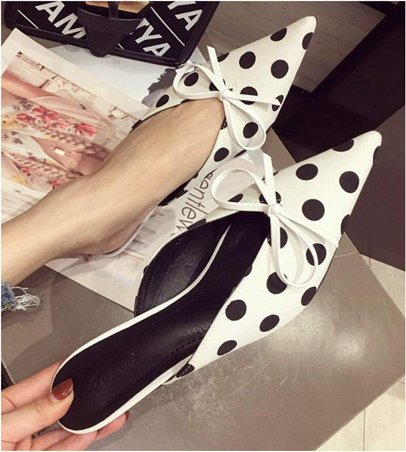 Special shine-shop shoes Pointed Toe dot Print Sandals Women Thin high Heels Bowtie Mules Designer Silk Slippers