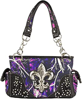 Fleur De Lis Rhinestone Purse Conceal Carry Camo Purse