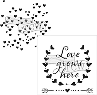 Crafter's Workshop Stencil 2 Pack, Reusable Stenciling Templates for Art Journaling, Mixed Media, and Scrapbooking (Hearts/Love Grows, 6 X 6 (2pack))