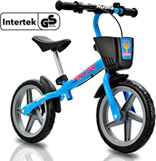 Newbona Kids Balance Bike with No Pedal for Ages 3 to 6 Years - Toddlers Balance Bicycle with Brakes and Bells and Basket for Kids Learn to Ride Pre Bike