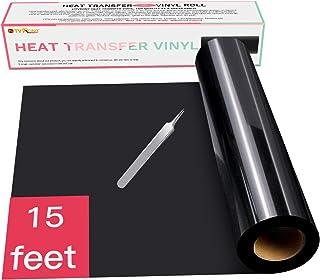 "HTV Black Heat Transfer Vinyl Rolls - 12"" x 15ft Black HTV Vinyl for Shirts, Black Iron on Vinyl for Cricut & Silhouette Cameo - Easy to Cut & Weed for DIY Heat Vinyl Design…"