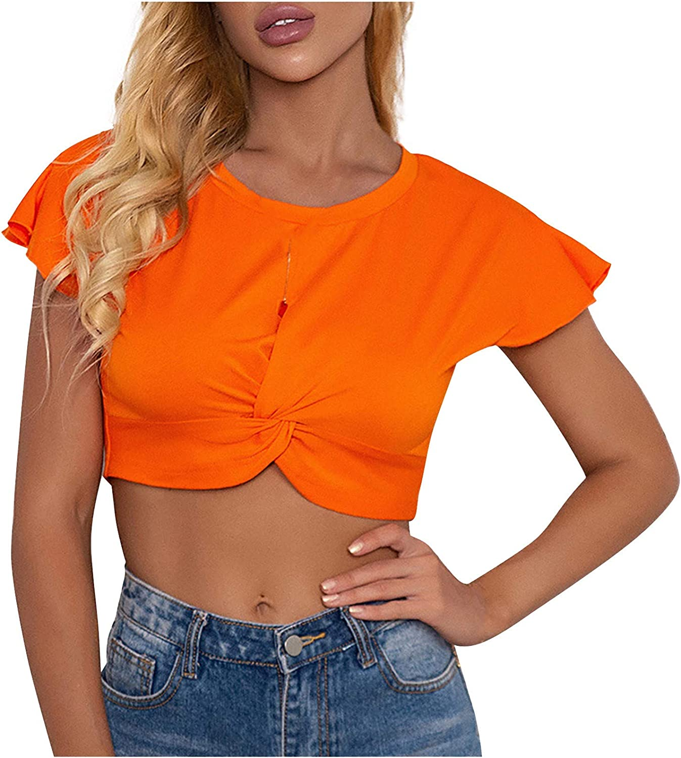 Women's Short Sleeve T-Shirt Sexy Short Umbilical Bow Crimping Round Neck T-Shirt Blouses Crop Tops