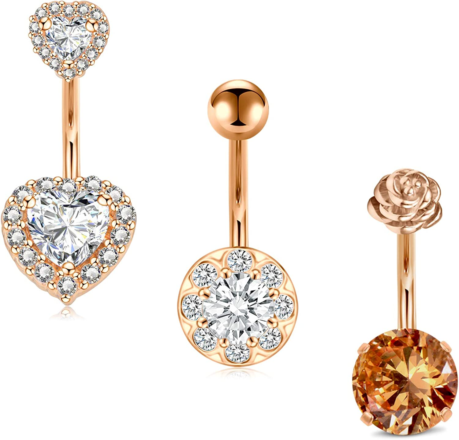 JFORYOU Belly Button Rings 14G 3Pcs Surgical Stainless Navel Belly Ring Cubic Zirconia Heart Navel Curved Barbell Rose Flower Top Style