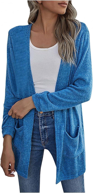Cardigan Sweaters for Women,Women's Fuzzy Hooded Cardigan Batwing Sleeve Open Front Lightweight Pockets Sweater Outwear