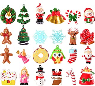 Unomor Mini Christmas Ornaments, Resin Design with Santa Clause, Snowman, Angle and More Ornaments – Set of 24 Pieces