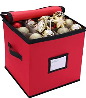 Sattiyrch Christmas Ornament Storage-3-inch Compartment,Tear Proof 600D Oxford Fabric ,Stores up to 64 Holiday Ornaments, Adjustable Dividers, Zippered Closure with Two Handles