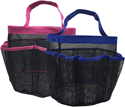 kinla 2 Pack Mesh Shower Caddy Tote,Quick Dry Dorm Hanging Shower Caddy,Bath Organizers Perfect for Bathroom Dorm School and Travel