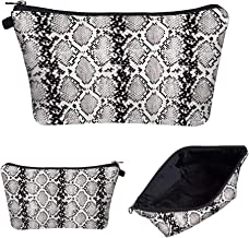 Portable Makeup Bag Organizer Travel Magic 3D Printing Cosmetic Bags Waterproof Pen Cases Brush Storage Pouch for Women Purse (Snake-skin Silver)