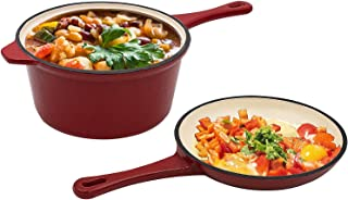 Enameled Cast Iron 2-In-1 Multi-Cooker, AIDEA 2-Quart Skillet and Lid Set, Cast Iron..