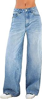 Women Baggy Jeans High Waist Wide Leg Straight Denim Pants Print Loose E Girls Streetwear Pants Y2k Fashion Jean