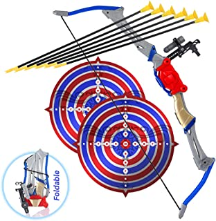 Bow and Arrow Toy Set for Kids, Foldable and Collapsible Archery Complete Pack with 6 Suction Cup Arrows, and 2 Targets, Best for Outdoor Sports, Hunting, and Adventure Games, Ideal Gift for Beginners