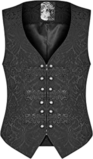 Punk Rave Mens Gothic Waistcoat Vest Black Steampunk Victorian Brocade Damask Regency Aristocrat