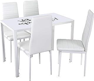 Noorsk Design Conjunto de Mesa Kiev 105x60 + 4 sillas de Comedor o Cocina Clasik (Blanco-Blanco)