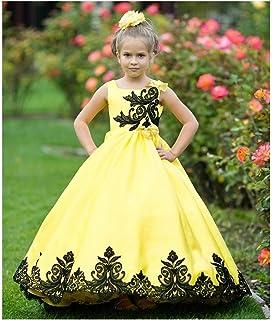 b8ee738d71b Little Girls Yellow Black Satin Lace Applique Sunset Ball Flower Girl Dress  6