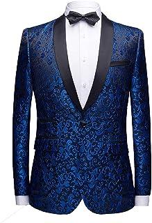 Allthemen Men's Casual Blazer Slim Fit Paisley Jacquard Suit Jackets Stylish Coats Chic Jackets, Blue, M