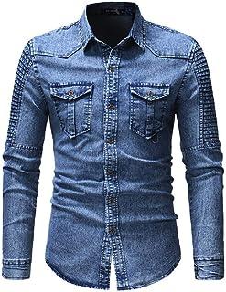 Camisa de Tela Vaquera Simple con botón de Bolsillo Plisado para Hombre, Primavera y otoño/Slim Europeo y Americano
