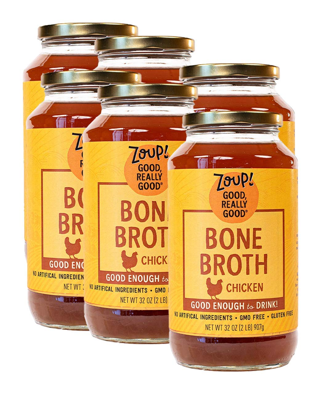 Zoup Chicken National uniform free shipping Sale special price Bone Broth - Free Fat 6-pack of 32