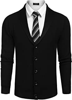 COOFANDY Men's Shawl Collar Cardigan Sweater Slim Fit Button Down Cardigan Casual Knitwear Jacket