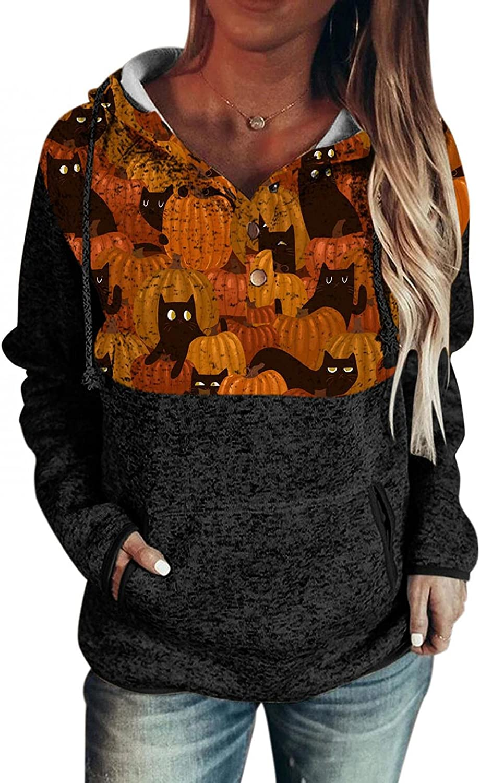 AODONG Halloween Shirts for Women,Women's Long Sleeve Hoodies Sweaters Loose Drawstring Button Pullover Sweatshirts