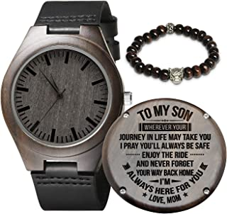 Personalized Wood Watches Gifts for Men, Engraved Handmade Mens Wood Watches for Son Husband Dad...