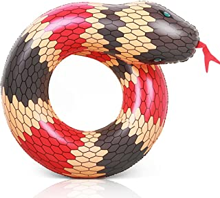 Coogam 40'' 3D Snake Swim Ring Inflatable Pool Float Color Rubber Open-Loop Animal Inner Tube Water Donut Rafts Foam Innertube Toy for Adults Kids Summer Outdoor Beach Party Playing Decoration (Red)
