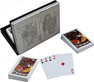 RoyaltyRoute Handmade Black Wooden Playing Cards Holder for 2 Decks of Playing Card Games - Christmas Gifts for Kids/Adults