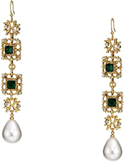 Antique Gold/Crystal/Emerald/White Pearl Fishhook Earrings