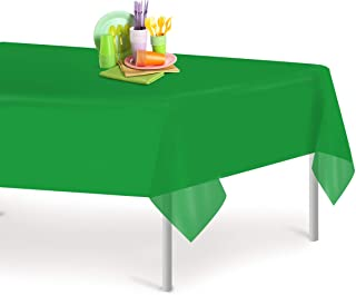 Green 12 Pack Premium Disposable Plastic Tablecloth 54 Inch. x 108 Inch. Rectangle Table Cover By Dluxware