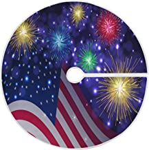 Patriotic Memorial Day 4th of July Tree Skirt 35.4 Inches USA Flag Fireworks Independence Day Xmas Tree Skirts Floor Door ...