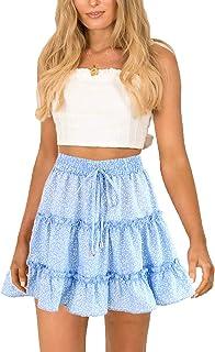 SimpleFun Womens Ruffle Skirts Floral Print Mini Skirts Polka Dot Short Skater Skirt