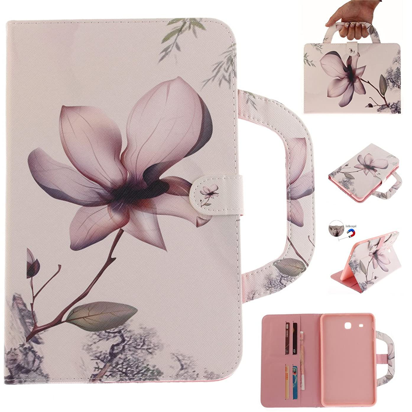 Galaxy Tab E 9.6 Case, Lwaisy Slim Fit Premium PU Leather Folio Stand Protective Case with Card Slots and Handle Cover for Samsung Galaxy Tab E 9.6 Inch SM-T560, Magnolia Flower