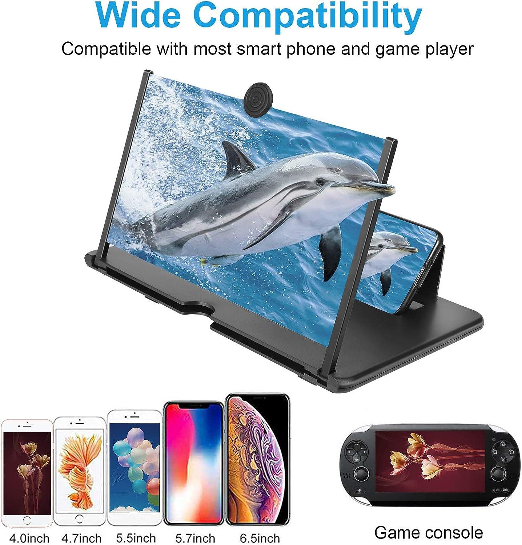 Majome Amplificador de pantalla de tel/éfono de 12 3D HD Amplificador de tel/éfono m/óvil con soporte plegable Proyector de aumento de video de pel/ícula antirradiaci/ón port/átil