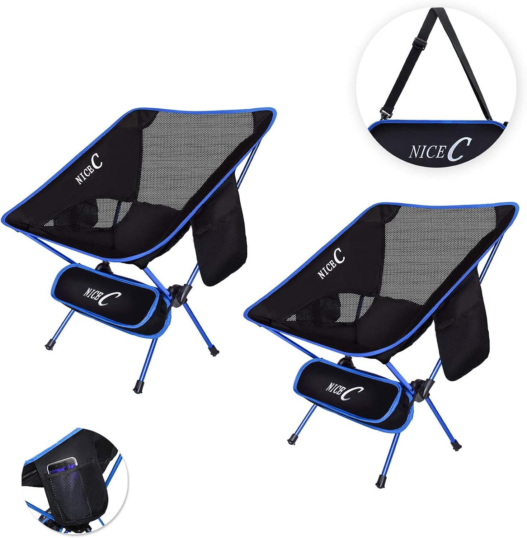 NiceC Ultralight Stuhl Tragbarer Camping Stuhl Faltbar 2Aufbewahrungsbeutel Tragetasche Kompaktes & Heavy Duty Outdoor, Camping, BBQ, Rucksackreisen, Strand, Reisen, Picknick, Festival