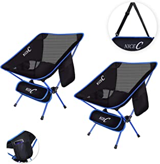 NiceC Ultralight Portable Folding Camping Backpacking Chair Compact & Heavy Duty Outdoor, Camping, BBQ, Beach, Travel, Picnic, Festival with 2 Storage Bags&Carry Bag