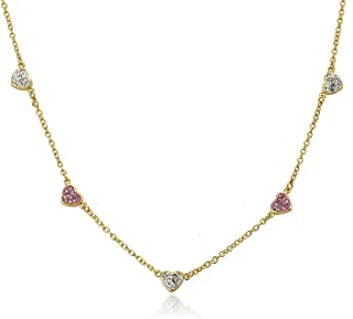 Molly Glitz Flowery Glitz 14k Gold-Plated Multi Color Flowers /& Crystal Balls Charm Necklace 14//2