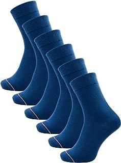 6 pares de calcetines clásicos de algodón orgánico para hombre y mujer, calcetines de negocios, clásicos, larga duración, negro o azul