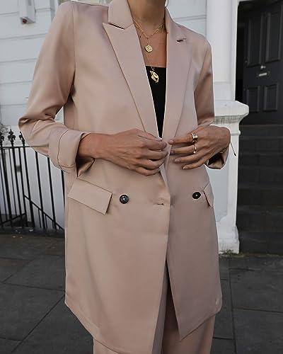 The Drop Women's Beige Loose Double Breasted Silky Long Blazer By @leoniehanne