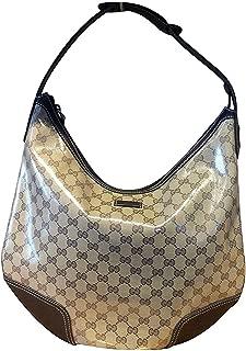 Brown Crystal Canvas Large Princy Hobo Handbag