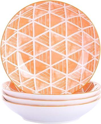 Preisvergleich für Vancasso Sayuki Porzellan Suppenteller, 4 TLG. Set Rund Teller, Ø 21,5 cm, 600 ml Salat Pasta Teller