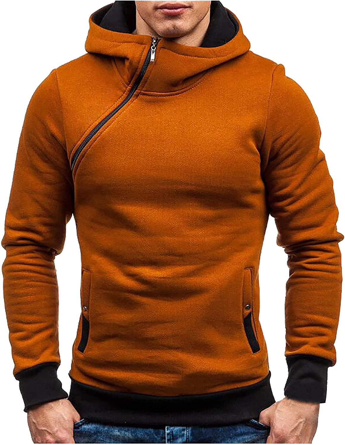 Hoodies for Men Twill Zipper Pullover Hooded Sweater Cool Design Sweatshirt with Pocket