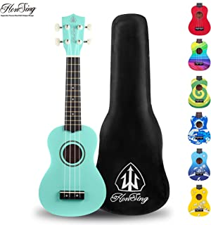 honsing Uke New Basswood Soprano Ukulele Hawaii Guitar 21 inch Gift for Friend Children (Light blue)