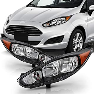 ACANII - For 2014-2018 Ford Fiesta Black Housing Headlights Front Headlamps Assembly Replacement Driver & Passenger