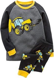 BGKAKA Boys Glow-in-The-Dark Dinosaur Astronaut Kids Cotton Sleepwear 2 Piece
