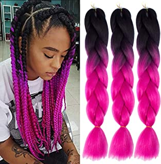 MSCHARM 5 Packs Synthetic Jumbo Braiding Hair Extensions Hair Ombre Twist Braiding Hair High Temperature Hair Extensions for Black Women 100g/Pack 24Inch (60CM) (Black-Rose Pink)
